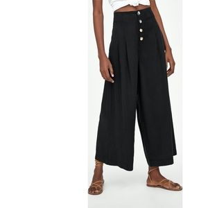 Zara trf collection black cropped trousers